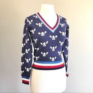 Bulldog Boston Terrier F21 blue vneck crop sweater